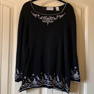 ALFRED DUNNER BLACK EMBROIDERED  SWEATER SZ XL